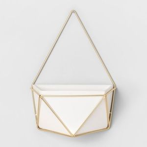 White and Gold Geometric Succulent Wall Hanging